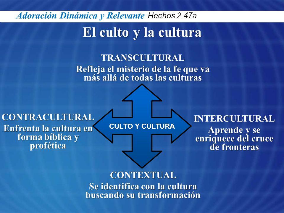 El culto y la cultura CULTO Y CULTURA TRANSCULTURAL Refleja el misterio de la fe que va más allá de todas las culturas CONTRACULTURAL Enfrenta la cult