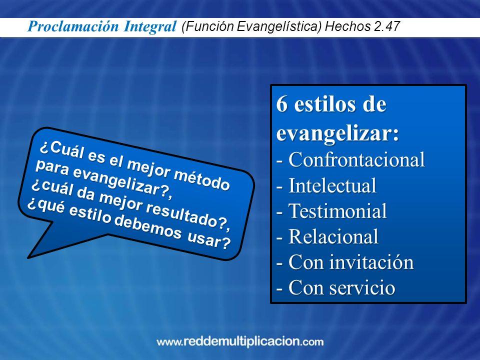 ¿Cuál es el mejor método para evangelizar?, ¿cuál da mejor resultado?, ¿qué estilo debemos usar? 6 estilos de evangelizar: - Confrontacional - Intelec