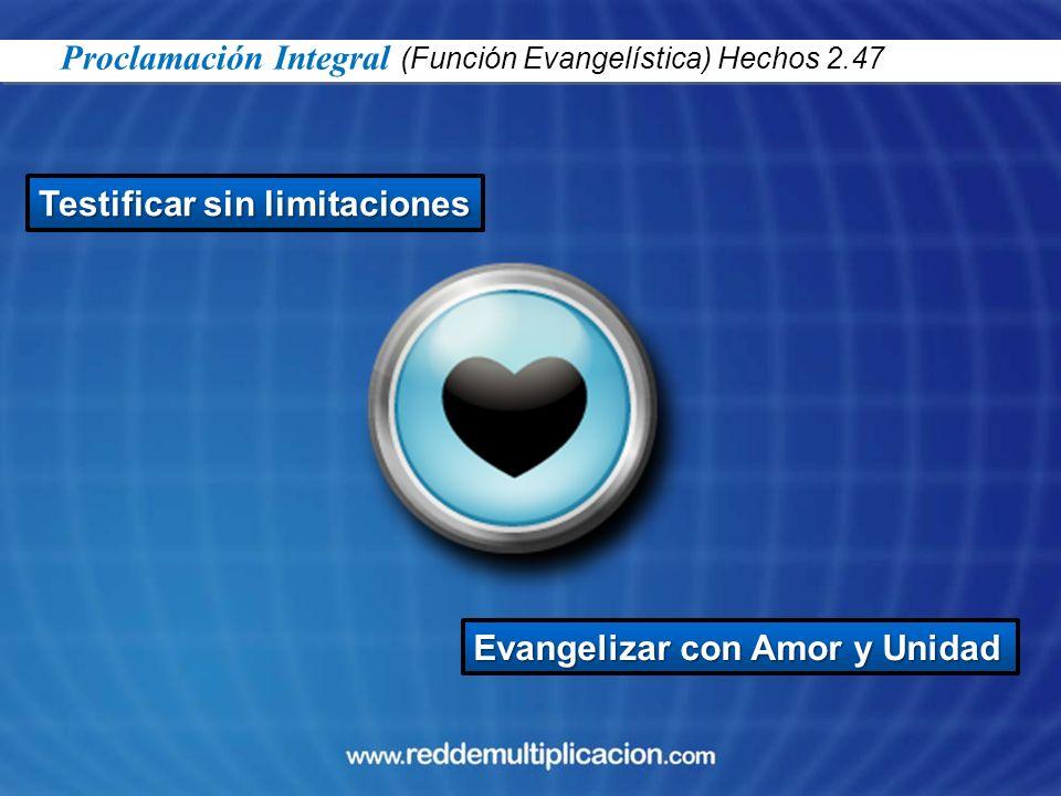 Testificar sin limitaciones Evangelizar con Amor y Unidad Proclamación Integral (Función Evangelística) Hechos 2.47