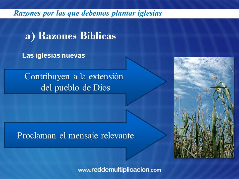 a) Razones Bíblicas Contribuyen a la extensión del pueblo de Dios Proclaman el mensaje relevante Las iglesias nuevas Razones por las que debemos plant