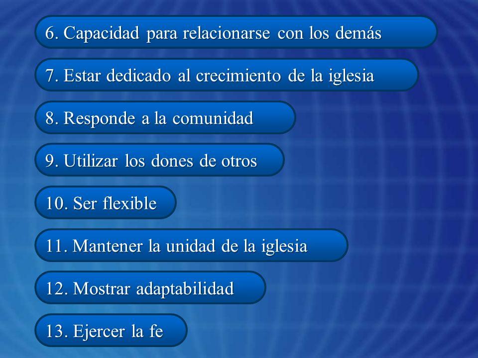 6. Capacidad para relacionarse con los demás 7. Estar dedicado al crecimiento de la iglesia 8. Responde a la comunidad 9. Utilizar los dones de otros
