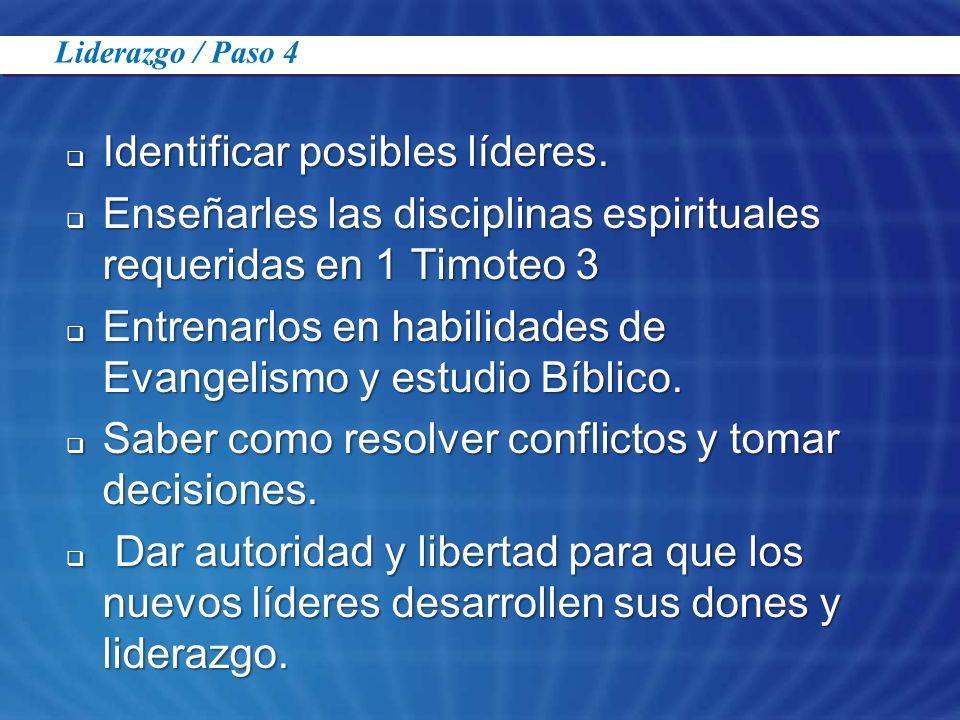 Identificar posibles líderes. Identificar posibles líderes. Enseñarles las disciplinas espirituales requeridas en 1 Timoteo 3 Enseñarles las disciplin