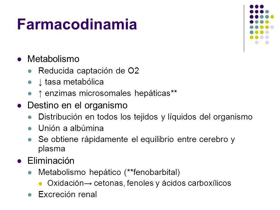 Farmacodinamia Metabolismo Reducida captación de O2 tasa metabólica enzimas microsomales hepáticas** Destino en el organismo Distribución en todos los