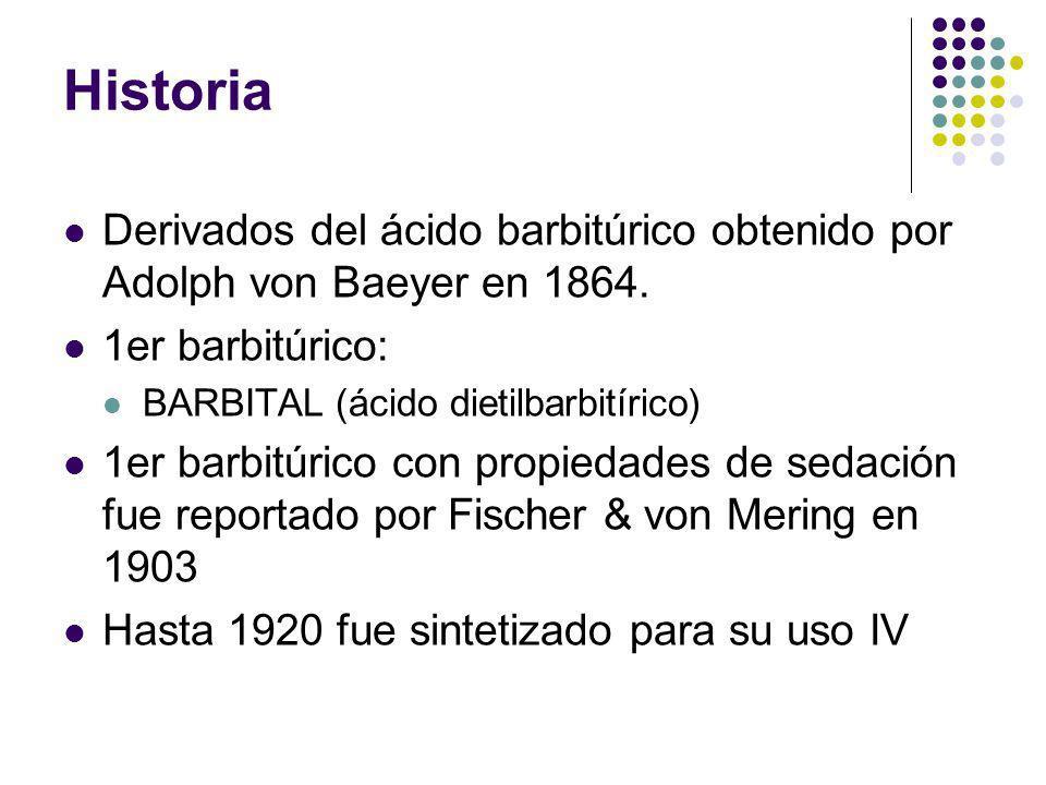 Historia Derivados del ácido barbitúrico obtenido por Adolph von Baeyer en 1864. 1er barbitúrico: BARBITAL (ácido dietilbarbitírico) 1er barbitúrico c