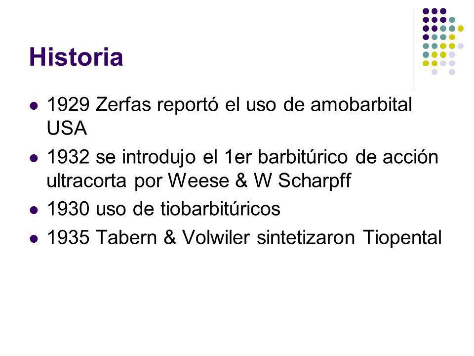 Historia 1929 Zerfas reportó el uso de amobarbital USA 1932 se introdujo el 1er barbitúrico de acción ultracorta por Weese & W Scharpff 1930 uso de ti