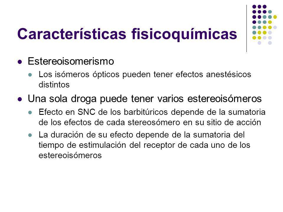 Características fisicoquímicas Estereoisomerismo Los isómeros ópticos pueden tener efectos anestésicos distintos Una sola droga puede tener varios est