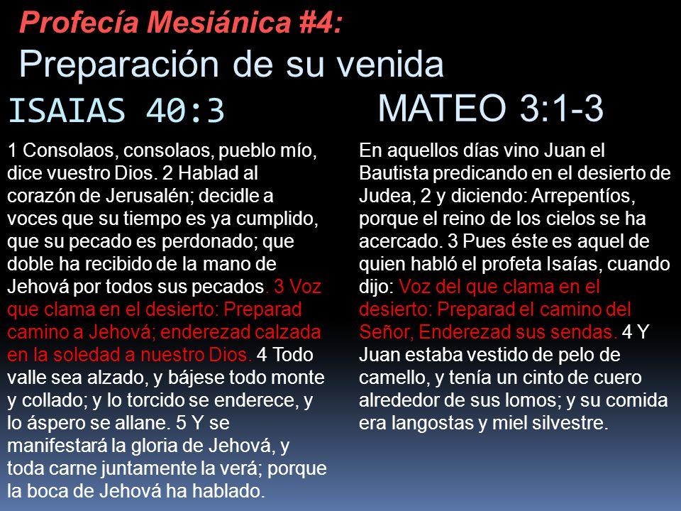 ISAIAS 40:3 1 Consolaos, consolaos, pueblo mío, dice vuestro Dios. 2 Hablad al corazón de Jerusalén; decidle a voces que su tiempo es ya cumplido, que