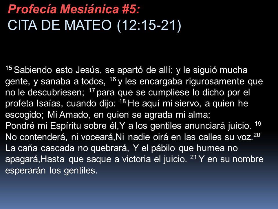 15 Sabiendo esto Jesús, se apartó de allí; y le siguió mucha gente, y sanaba a todos, 16 y les encargaba rigurosamente que no le descubriesen; 17 para