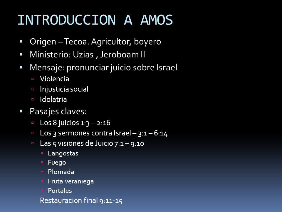 INTRODUCCION A AMOS Origen – Tecoa. Agricultor, boyero Ministerio: Uzias, Jeroboam II Mensaje: pronunciar juicio sobre Israel Violencia Injusticia soc