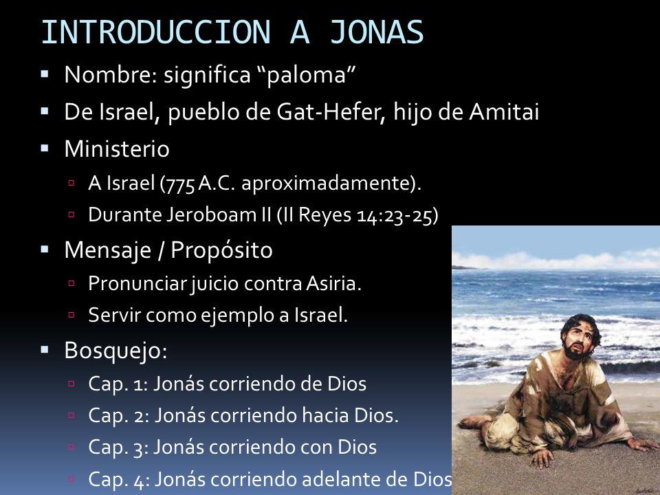 INTRODUCCION A JONAS Nombre: significa paloma De Israel, pueblo de Gat-Hefer, hijo de Amitai Ministerio A Israel (775 A.C. aproximadamente). Durante J