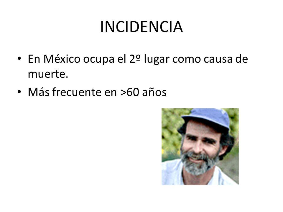 INCIDENCIA En México ocupa el 2º lugar como causa de muerte. Más frecuente en >60 años