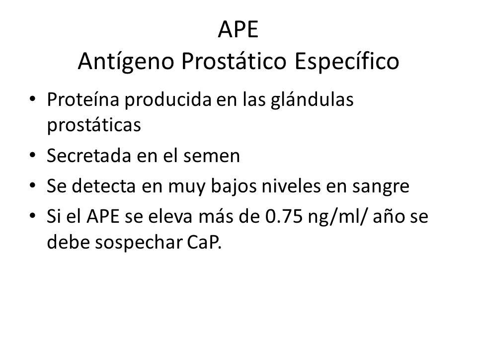 APE Antígeno Prostático Específico Proteína producida en las glándulas prostáticas Secretada en el semen Se detecta en muy bajos niveles en sangre Si