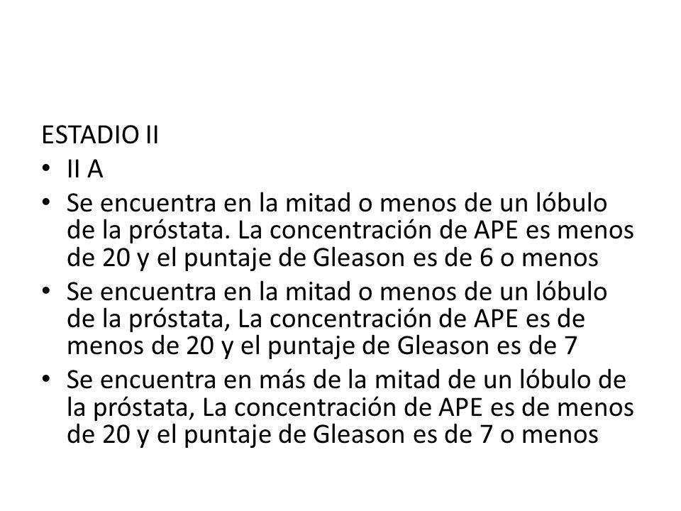 ESTADIO II II A Se encuentra en la mitad o menos de un lóbulo de la próstata. La concentración de APE es menos de 20 y el puntaje de Gleason es de 6 o