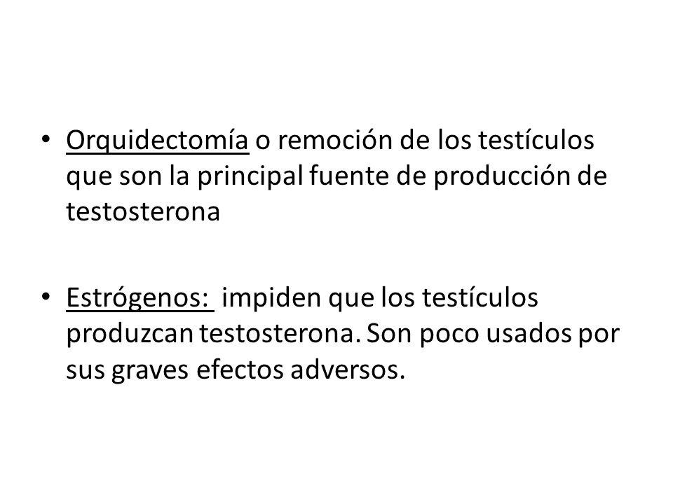 Orquidectomía o remoción de los testículos que son la principal fuente de producción de testosterona Estrógenos: impiden que los testículos produzcan