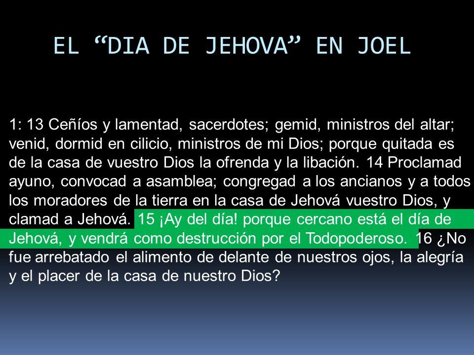 EL DIA DE JEHOVA EN JOEL 1: 13 Ceñíos y lamentad, sacerdotes; gemid, ministros del altar; venid, dormid en cilicio, ministros de mi Dios; porque quita