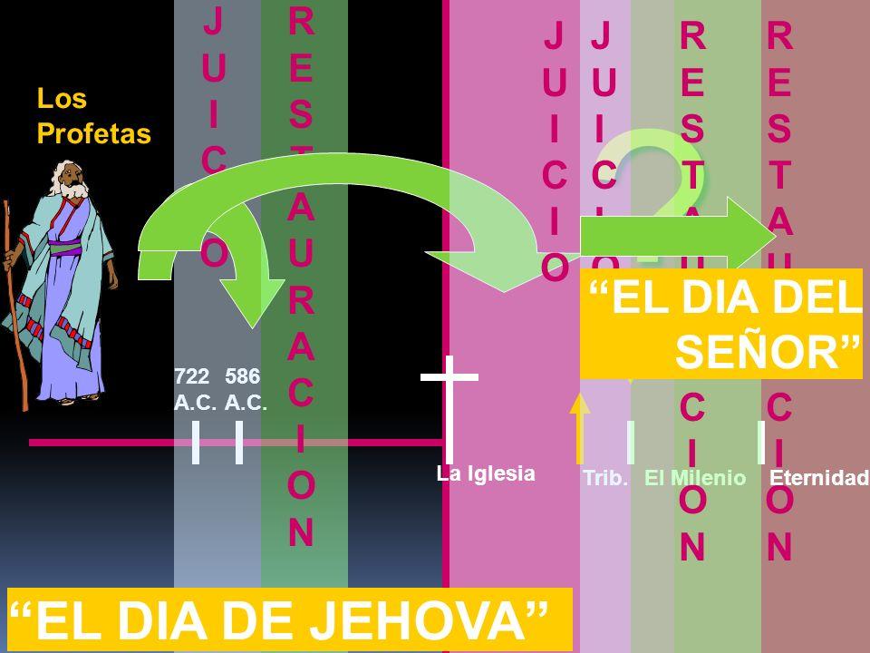 586 A.C. Los Profetas 722 A.C. JUICIOJUICIO RESTAURACIONRESTAURACION ? JUICIOJUICIO RESTAURACIONRESTAURACION La Iglesia El MilenioEternidadTrib. RESTA