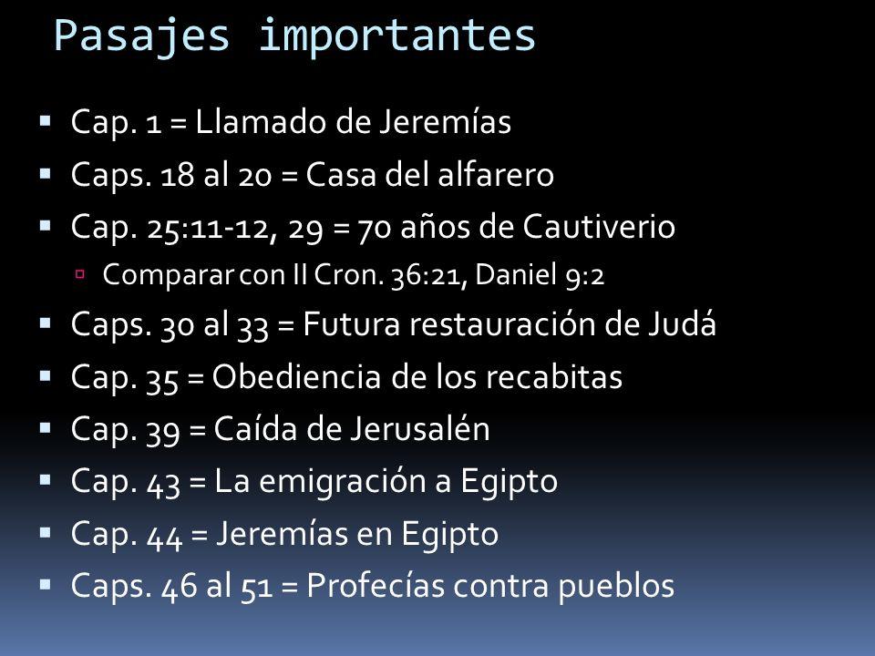 Pasajes importantes Cap. 1 = Llamado de Jeremías Caps. 18 al 20 = Casa del alfarero Cap. 25:11-12, 29 = 70 años de Cautiverio Comparar con II Cron. 36