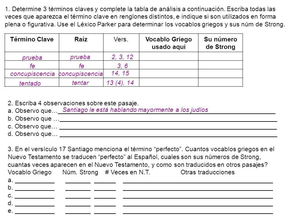 Término ClaveRaízVers.Vocablo Griego usado aqui Su número de Strong 2. Escriba 4 observaciones sobre este pasaje. a. Observo que…_____________________