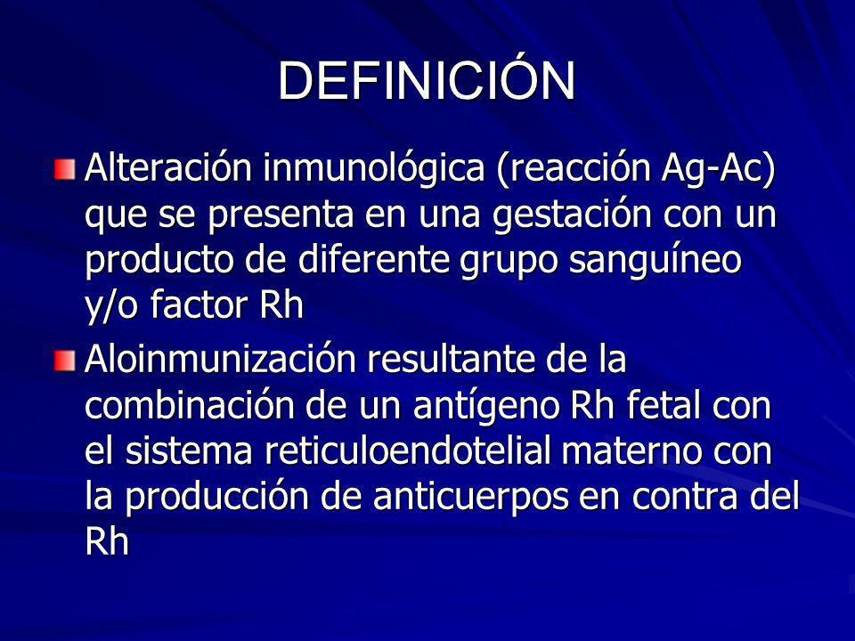 DEFINICIÓN Alteración inmunológica (reacción Ag-Ac) que se presenta en una gestación con un producto de diferente grupo sanguíneo y/o factor Rh Aloinm