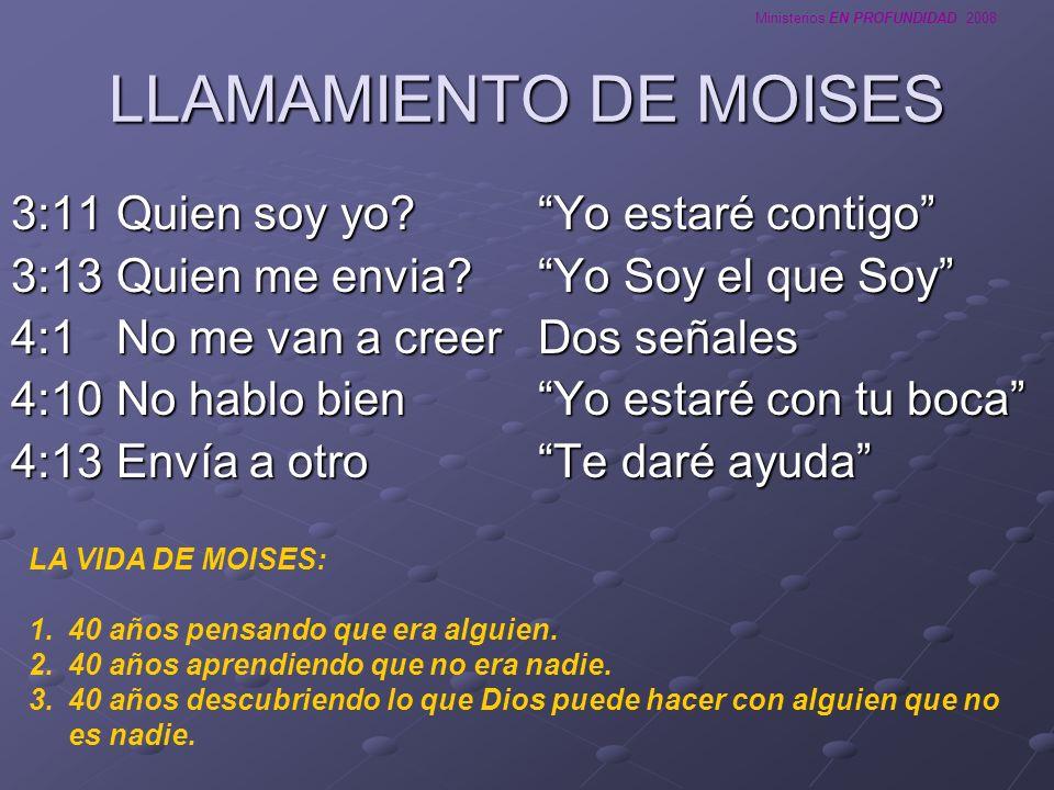 Ministerios EN PROFUNDIDAD 2008 LLAMAMIENTO DE MOISES 3:11Quien soy yo?Yo estaré contigo 3:13Quien me envia?Yo Soy el que Soy 4:1No me van a creerDos