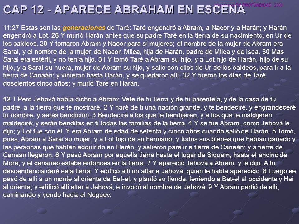 Ministerios EN PROFUNDIDAD 2008 CAP 12 - APARECE ABRAHAM EN ESCENA 11:27 Estas son las generaciones de Taré: Taré engendró a Abram, a Nacor y a Harán;
