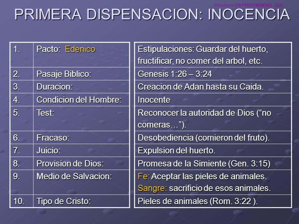 Ministerios EN PROFUNDIDAD 2008 PRIMERA DISPENSACION: INOCENCIA Estipulaciones: Guardar del huerto, fructificar, no comer del arbol, etc. Genesis 1:26