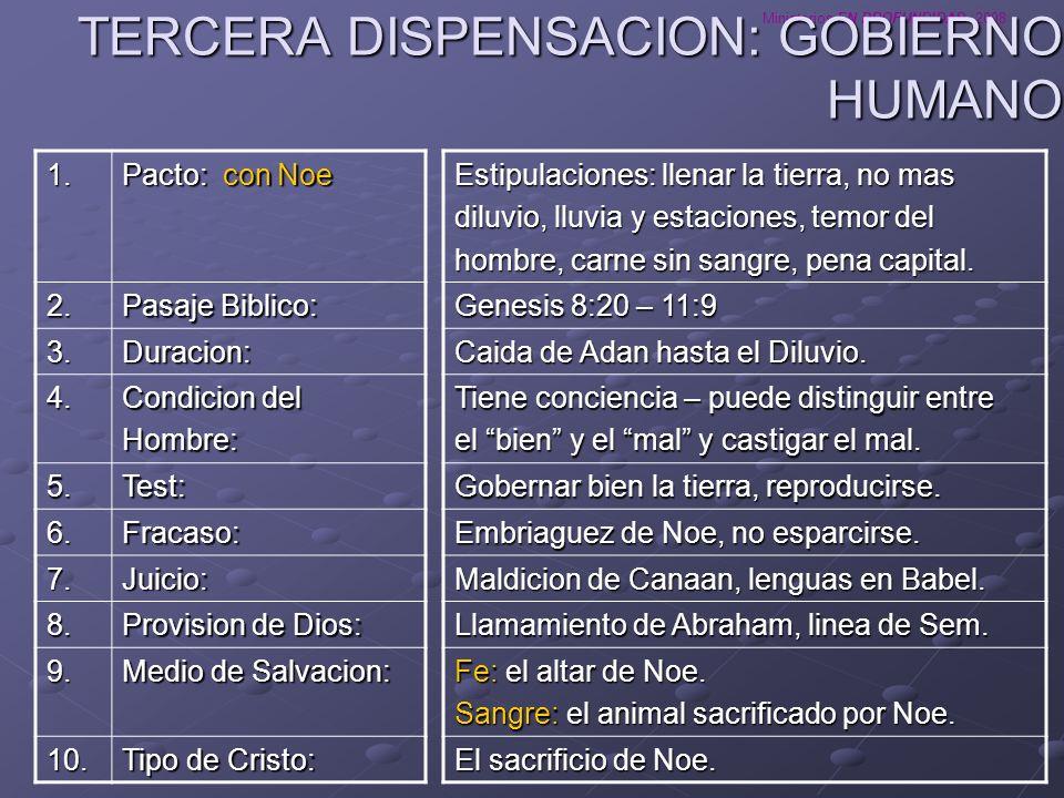Ministerios EN PROFUNDIDAD 2008 TERCERA DISPENSACION: GOBIERNO HUMANO Estipulaciones: llenar la tierra, no mas diluvio, lluvia y estaciones, temor del
