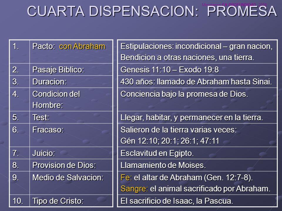 Ministerios EN PROFUNDIDAD 2008 QUINTA DISPENSACION: LA LEY Estipulaciones: condicional (obediencia perfecta a la Ley).