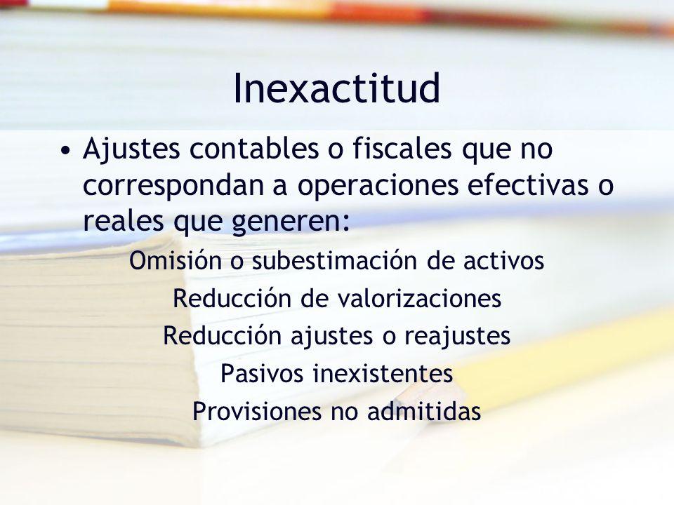 Inexactitud Ajustes contables o fiscales que no correspondan a operaciones efectivas o reales que generen: Omisión o subestimación de activos Reducció