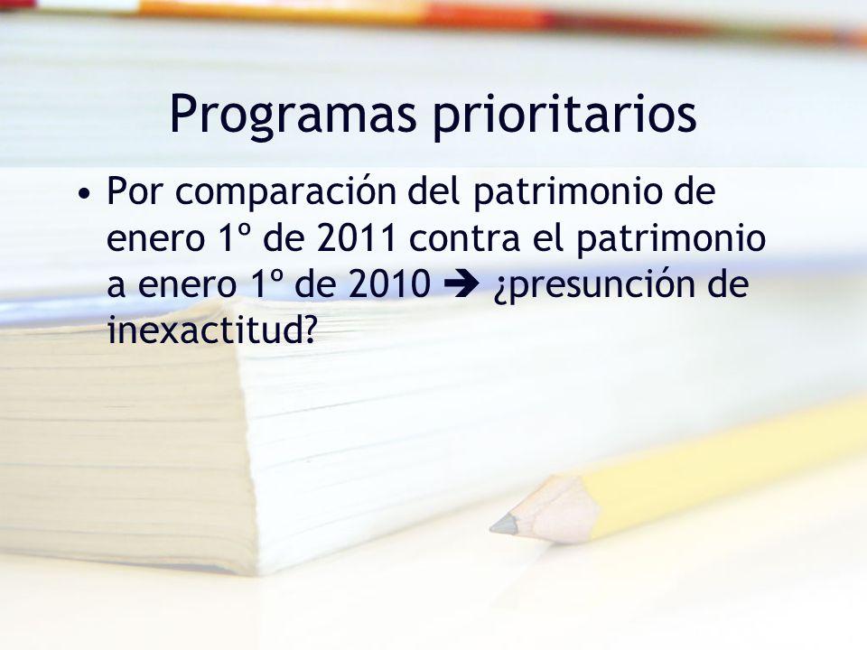 Programas prioritarios Por comparación del patrimonio de enero 1º de 2011 contra el patrimonio a enero 1º de 2010 ¿presunción de inexactitud?