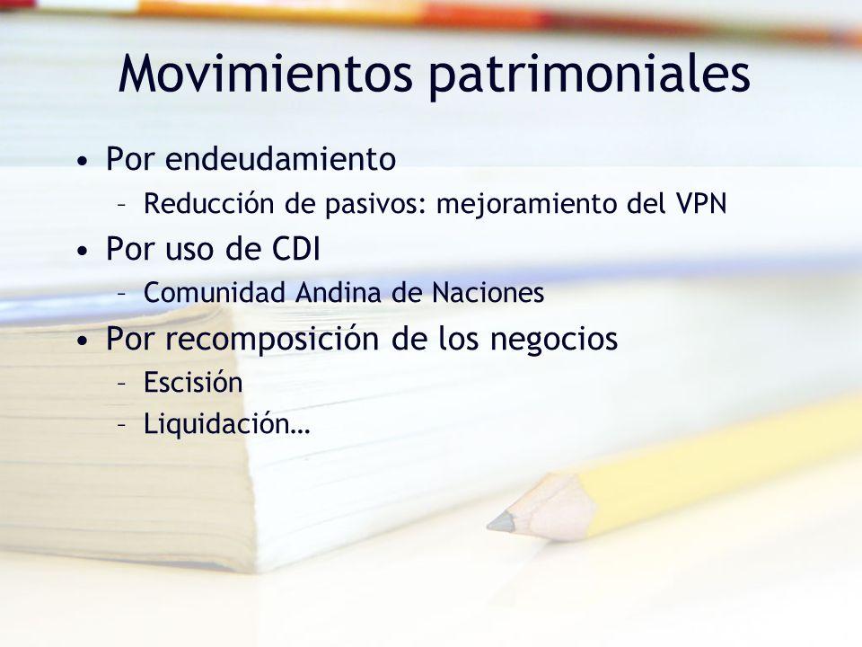 Movimientos patrimoniales Por endeudamiento –Reducción de pasivos: mejoramiento del VPN Por uso de CDI –Comunidad Andina de Naciones Por recomposición