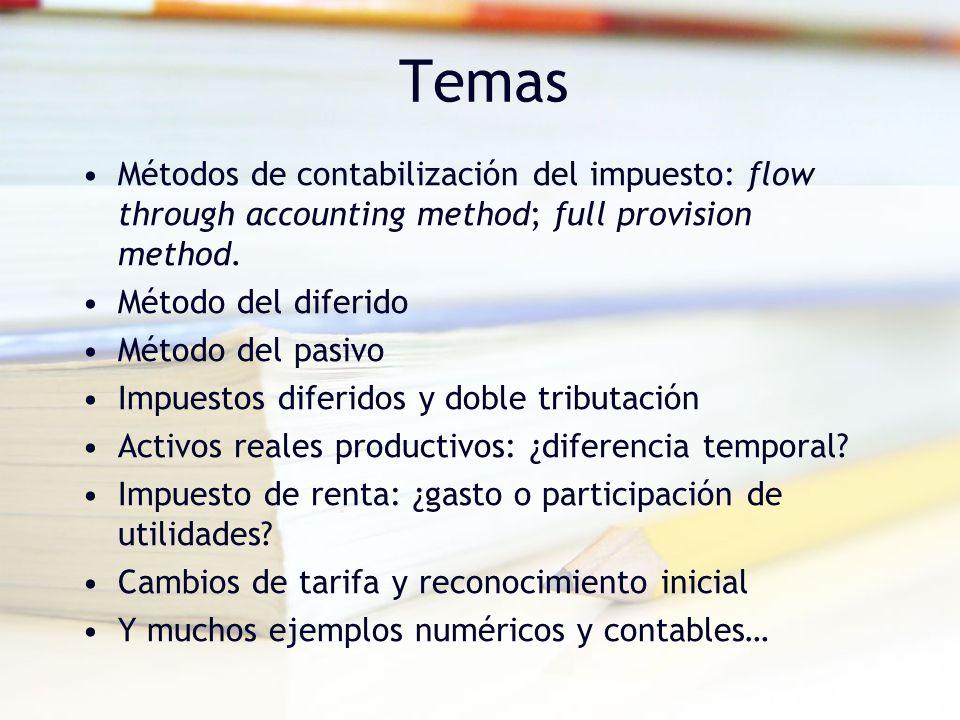 Temas Métodos de contabilización del impuesto: flow through accounting method; full provision method. Método del diferido Método del pasivo Impuestos