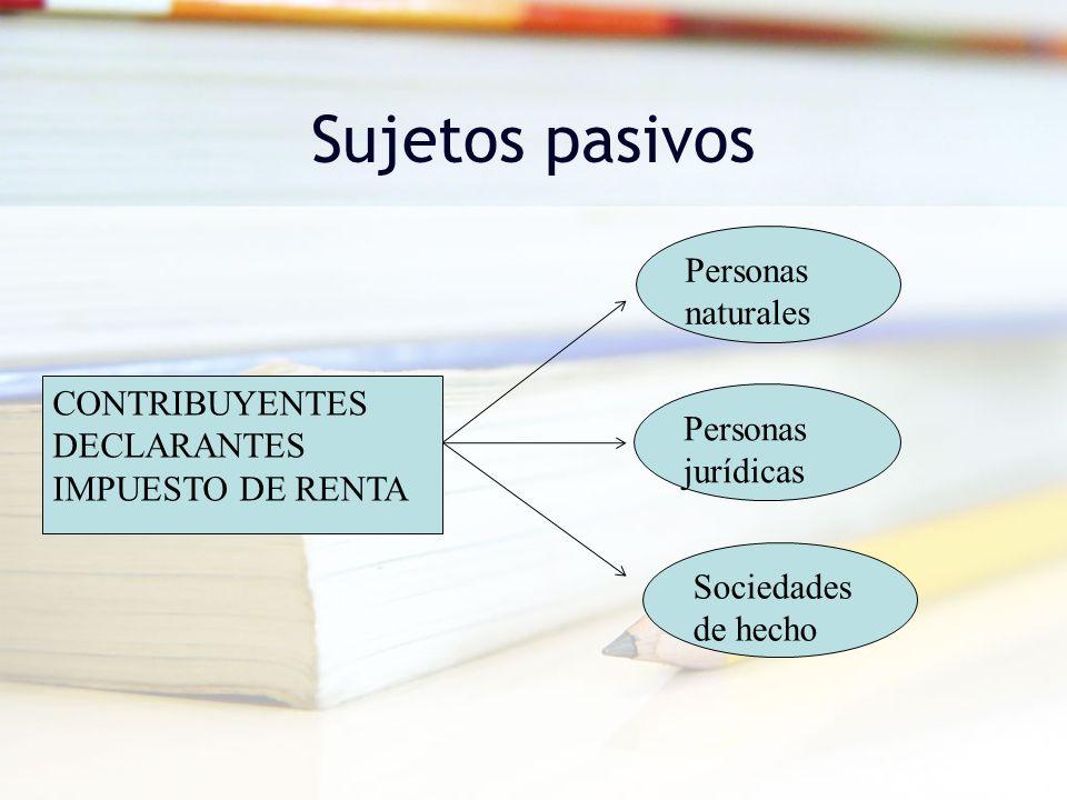 Sujetos pasivos CONTRIBUYENTES DECLARANTES IMPUESTO DE RENTA Personas naturales Personas jurídicas Sociedades de hecho