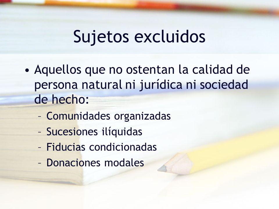 Sujetos no contribuyentes NO CONTRIBUYENTES IMPUESTO DE RENTA Consorcio y UTE Estatales Sindicatos Hospitales Universi- dades Copropiedades Asoc.