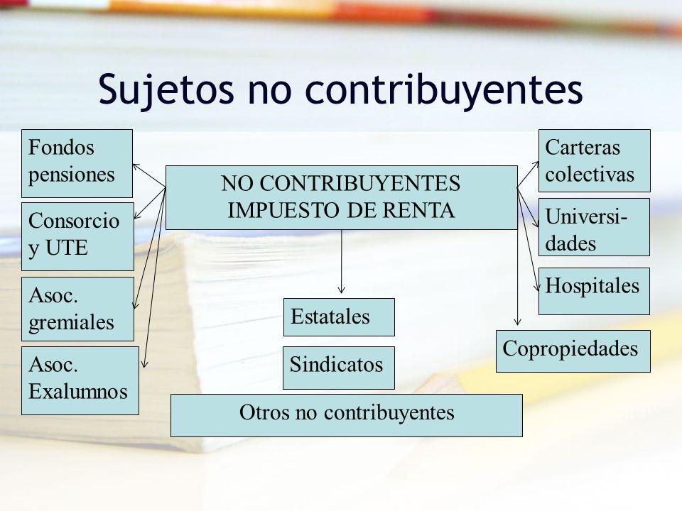 Sujetos no contribuyentes NO CONTRIBUYENTES IMPUESTO DE RENTA Consorcio y UTE Estatales Sindicatos Hospitales Universi- dades Copropiedades Asoc. Exal
