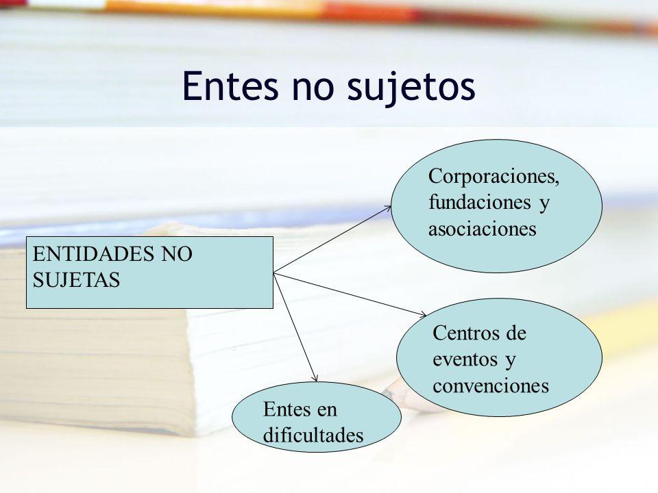 Entes no sujetos ENTIDADES NO SUJETAS Corporaciones, fundaciones y asociaciones Centros de eventos y convenciones Entes en dificultades