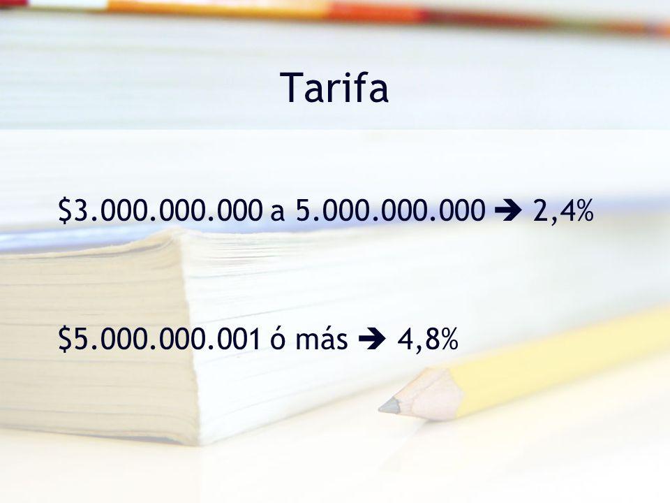 Tarifa $3.000.000.000 a 5.000.000.000 2,4% $5.000.000.001 ó más 4,8%