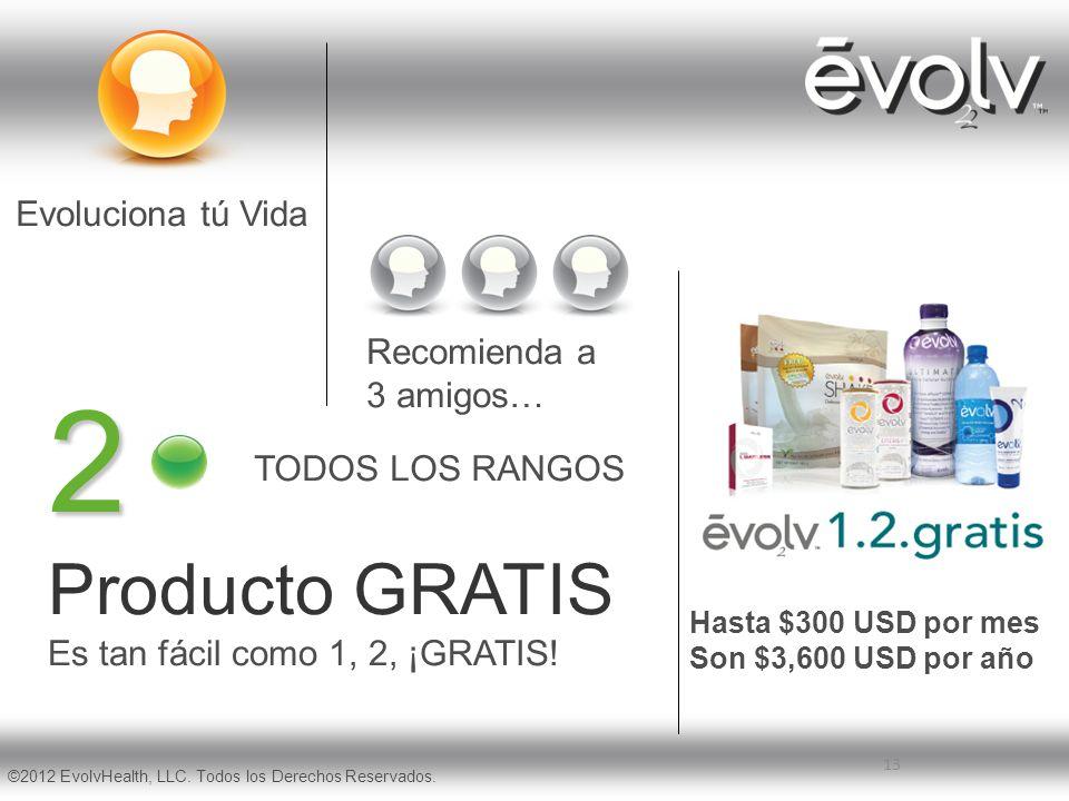 13 2 Producto GRATIS Es tan fácil como 1, 2, ¡GRATIS! Evoluciona tú Vida Recomienda a 3 amigos… TODOS LOS RANGOS ©2012 EvolvHealth, LLC. Todos los Der