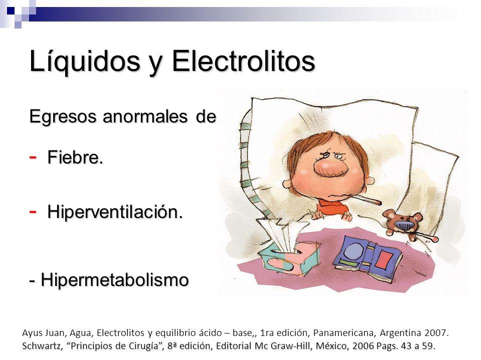 Líquidos y Electrolitos Egresos anormales de líquidos: - Fiebre. - Hiperventilación. - Hipermetabolismo Ayus Juan, Agua, Electrolitos y equilibrio áci