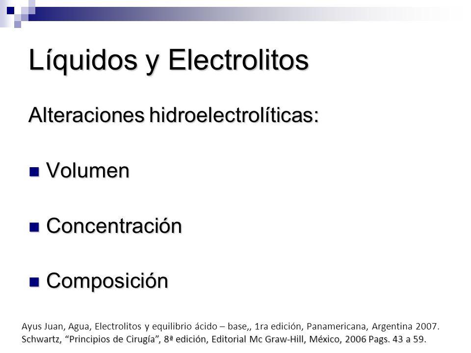 Líquidos y Electrolitos Alteraciones hidroelectrolíticas: Volumen Volumen Concentración Concentración Composición Composición Ayus Juan, Agua, Electro