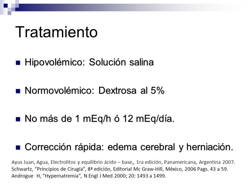 Tratamiento Hipovolémico: Solución salina Hipovolémico: Solución salina Normovolémico: Dextrosa al 5% Normovolémico: Dextrosa al 5% No más de 1 mEq/h