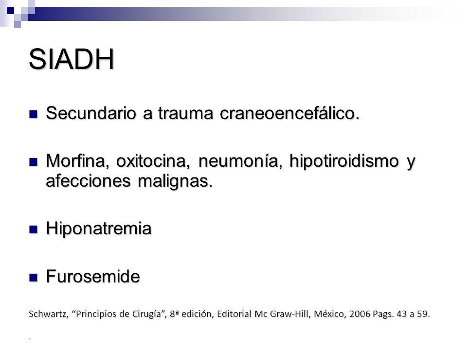 SIADH Secundario a trauma craneoencefálico. Secundario a trauma craneoencefálico. Morfina, oxitocina, neumonía, hipotiroidismo y afecciones malignas.
