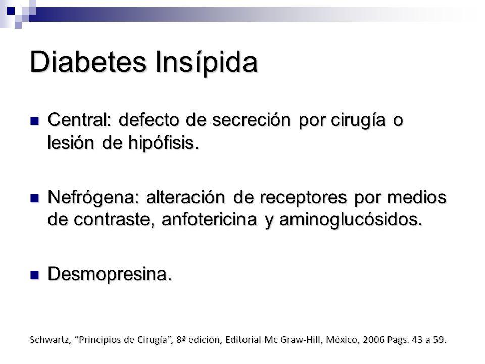 Diabetes Insípida Central: defecto de secreción por cirugía o lesión de hipófisis. Central: defecto de secreción por cirugía o lesión de hipófisis. Ne