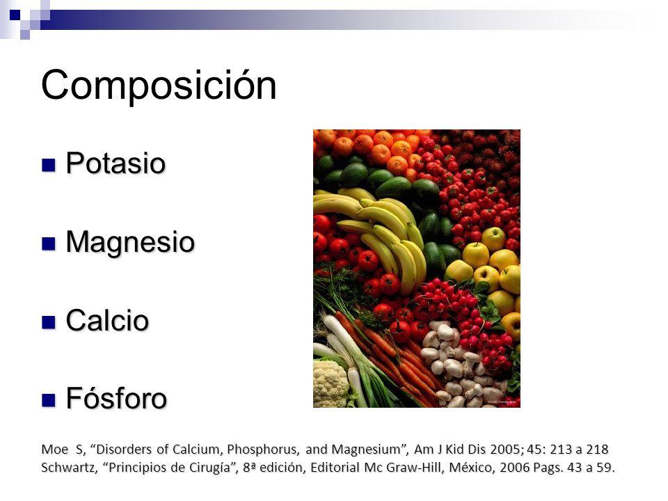Composición Potasio Potasio Magnesio Magnesio Calcio Calcio Fósforo Fósforo Moe S, Disorders of Calcium, Phosphorus, and Magnesium, Am J Kid Dis 2005;