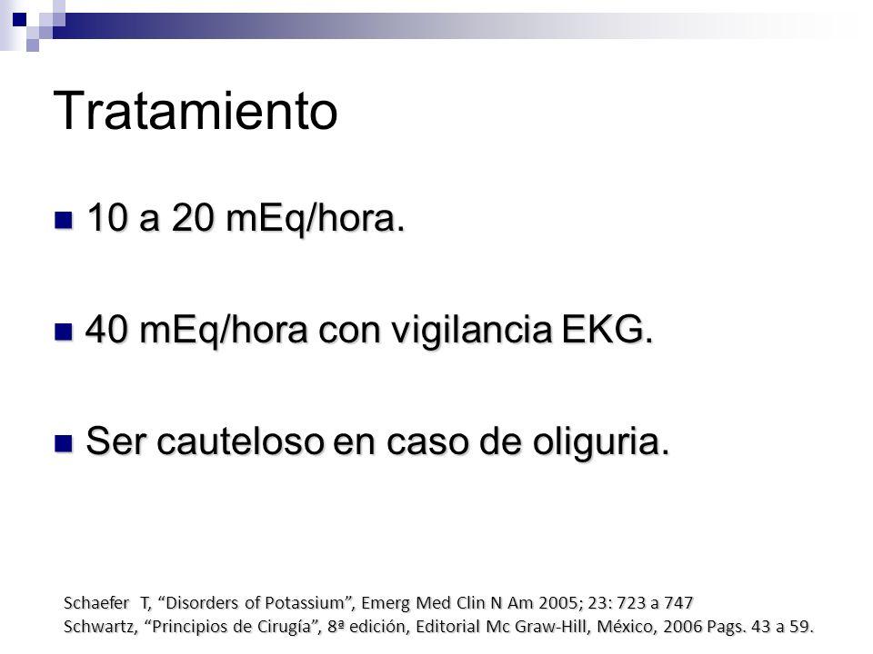 Tratamiento 10 a 20 mEq/hora. 10 a 20 mEq/hora. 40 mEq/hora con vigilancia EKG. 40 mEq/hora con vigilancia EKG. Ser cauteloso en caso de oliguria. Ser