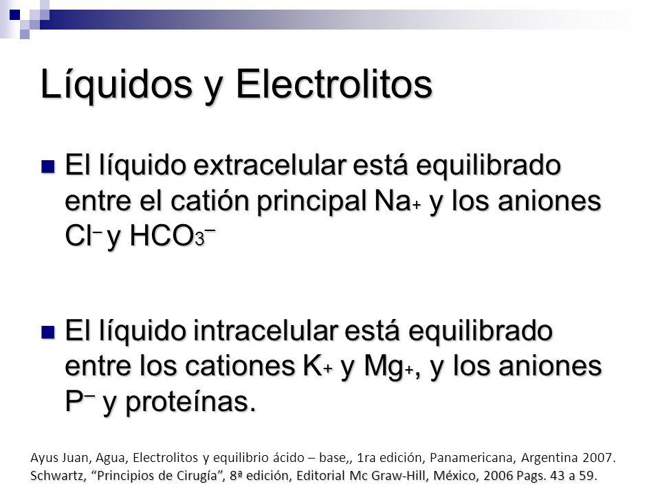 Líquidos y Electrolitos El líquido extracelular está equilibrado entre el catión principal Na + y los aniones Cl ¯ y HCO 3¯ El líquido extracelular es