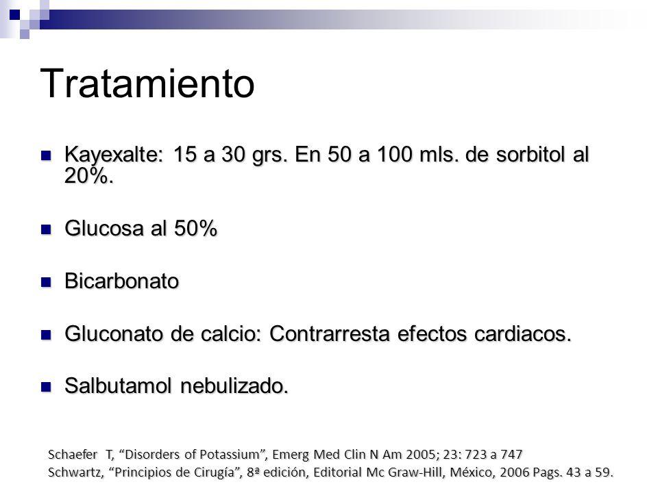 Tratamiento Kayexalte: 15 a 30 grs. En 50 a 100 mls. de sorbitol al 20%. Kayexalte: 15 a 30 grs. En 50 a 100 mls. de sorbitol al 20%. Glucosa al 50% G