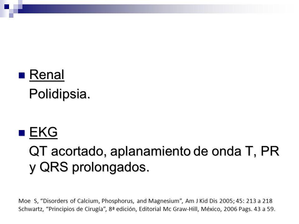 Renal Renal Polidipsia. Polidipsia. EKG EKG QT acortado, aplanamiento de onda T, PR y QRS prolongados. QT acortado, aplanamiento de onda T, PR y QRS p