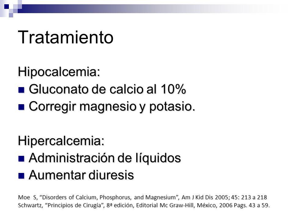 Tratamiento Hipocalcemia: Gluconato de calcio al 10% Gluconato de calcio al 10% Corregir magnesio y potasio. Corregir magnesio y potasio.Hipercalcemia