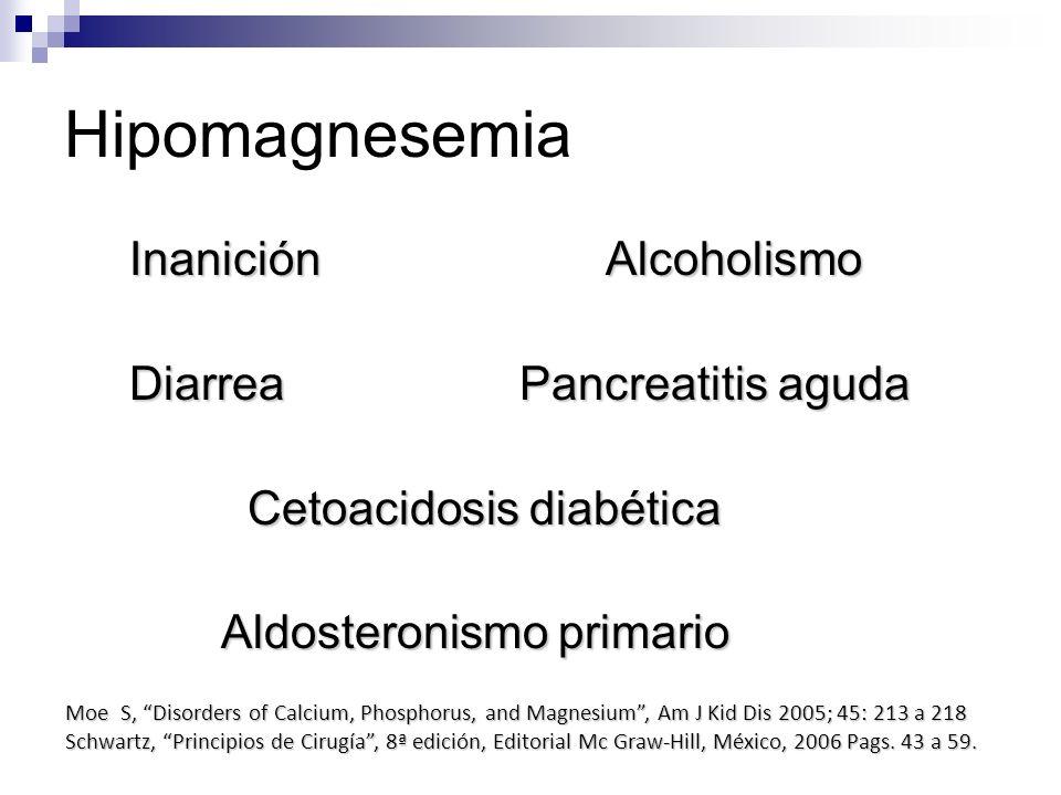 Hipomagnesemia Inanición Alcoholismo Inanición Alcoholismo Diarrea Pancreatitis aguda Diarrea Pancreatitis aguda Cetoacidosis diabética Cetoacidosis d